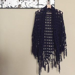 Sweaters - Vintage Navy Shawl